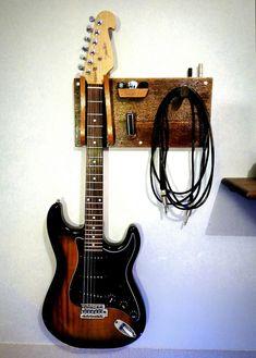 Guitar / cable / pick / slide Holder Made with Wood - Guitar / cable / pick / slide Holder Made with Wood - Home Studio Musik, Music Studio Room, Guitar Storage, Guitar Display, Guitar Decorations, Guitar Wall Hanger, Guitar Wall Stand, Home Music Rooms, House Music
