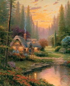 thomas kinkade cottages paintings - Google Search