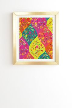 Colorful framed wall art inspired by Morocco. Art by Joy Laforme design Moroccan Party 1. Framed Wall Art available at DENY Designs