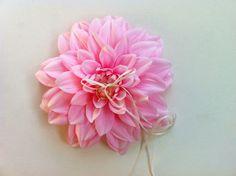 Pink Wedding:  Pink flower ring bearer pillow