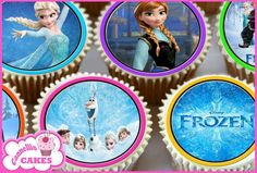 24 X FROZEN EDIBLE CUPCAKE TOPPERS CAKE PREMIUM WAFER RICE PAPER 7637
