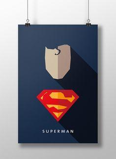 Flat Design e personagens da cultura pop nos pôsteres de Moritz Adam Schmitt Poster Superman, Superman Art, Batman, Flat Design, Web Design, Comic Books Art, Comic Art, Héros Dc Comics, Hero Poster