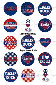 INSTANT DOWNLOAD Eagles Navy  Red  School Mascot by sugarnspicebow