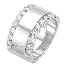 White Gold 1 TDW Diamond Anniversary Ring Highlighted with beautiful round diamonds, this ring features a solid white gold central band that is s Diamond Anniversary Rings, Anniversary Jewelry, Anniversary Bands, Diamond Bands, Diamond Wedding Bands, Diamond Jewelry, Sapphire Jewelry, Sapphire Earrings, Hoop Earrings