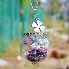 Wish Bottle Pendant Necklace Starfish feather Glass floating charms locket Vial Necklace Fashion Beach Jewelry