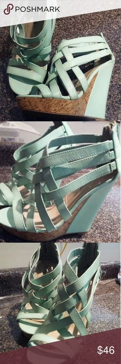Mint green beautiful wood plated wedges. Worn a couple of times. Very very good condition still. Shoes Wedges