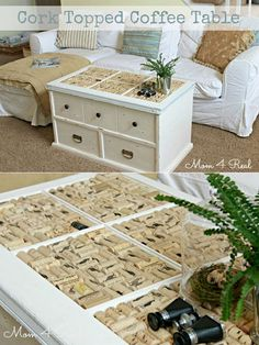 Wine Cork Topped Coffee Table Tutorial | Easy DIY Wine Cork Craft Projects by DIY Ready at http://diyready.com/more-wine-cork-crafts-ideas/