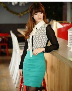 Stylish Pattern Slim Skirt Green Waist Skirt, High Waisted Skirt, Slim, Stylish, Green, Skirts, Pattern, Beautiful, Dresses
