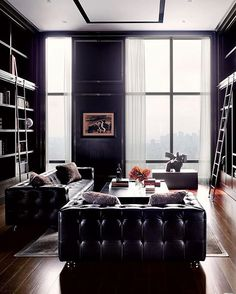 Black Library. . . . . . . . . . . . #art #architecture #apartment #view #black #library #lights #luxe #lighting #modern #classic #floor #chic #daily #decor #design #detail #designer #furniture #leather #glam #house #homedecor #interiordesign #interior #furniture #wow
