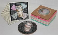 Cork Coaster Gift Set! www.craftprojectcentral.com Here's a gorgeous set of four Drink Coasters to give as a gift with a matching note card and handmade envelope. Or simply enjoy having on hand when your crafting friends arrive for that Stamp-A-Stack afternoon.