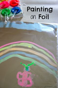 Painting on tin foil with kids is lots of fun and great for all ages. Perfect for when you're stuck indoors. Fun Activities For Kids, Infant Activities, Preschool Activities, Spring Activities, Indoor Activities, Crafts To Do, Easy Crafts, Crafts For Kids, Preschool Art