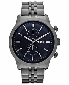 Fossil Watch, Men's Chronograph Townsman Smoke Tone Stainless Steel Bracelet 48mm FS4786 - Men's Watches - Jewelry & Watches - Macy's