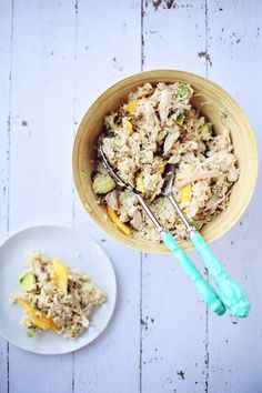 Coconut Mango Rice Salad1 Mango, Chicken & Brown Rice Salad with Coconut Ginger Dressing - use meat substitute