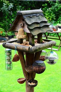 A very fun bird feeding station with a variety of seeds and feeders available. It would be hard to discourage squirrels with this setup, though.