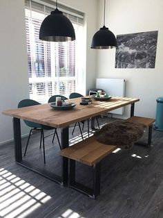 Oak Table, Wooden Dining Tables, Modern Dining Table, Dining Room Table, Dining Rooms, Diner Table, Sweet Home, Dining Room Inspiration, Dining Room Design