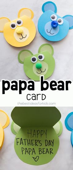 This Papa Bear Card is so cute! Dad will love receiving this for Father's Day. This Papa Bear Card is so cute! Dad will love receiving this for Father's Day. You can get a Free printable template Toddler Art Projects, Toddler Crafts, Preschool Crafts, Projects For Kids, Fun Crafts, Crafts For Kids, Creative Crafts, Fathers Day Art, Happy Fathers Day