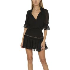MISA Los Angeles Simone Dress MISA Los Angeles (€255) ❤ liked on Polyvore featuring dresses, home, little black dress, women's, eyelet mini dress, long-sleeve mini dress, three quarter sleeve dress, viscose dresses and metallic mini dress