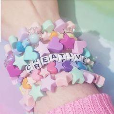 Kawaii Candy Heart Star Stretch Bracelet on Mercari Rainbow Sweets, Candy Bracelet, Mode Kawaii, Kawaii Accessories, Cute Bracelets, Pony Beads, Kawaii Clothes, Indie Kids, Kandi