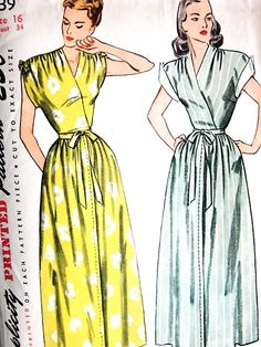 LOVELY HouseCoat BathRobe Brunch Coat Robe Pattern SIMPLICITY 1639 Bust 34 Vintage Sewing Pattern FACTORY FOLDED-Authentic vintage sewing patterns: This is a fabulous original dress making pattern, not a copy. Because the sewing patterns are vi Dress Making Patterns, Vintage Dress Patterns, Clothing Patterns, Vintage Dresses, Vintage Outfits, 1940s Fashion, Vintage Fashion, Brunch Dress, Wrap Clothing