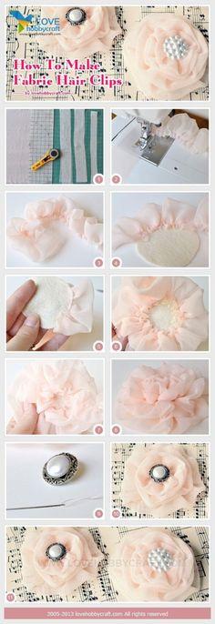 ideas flowers fabric organza hair bows for 2019 Handmade Flowers, Diy Flowers, Fabric Flowers, Paper Flowers, Pretty Flowers, Ribbon Crafts, Flower Crafts, Diy Fleur, Sewing Crafts