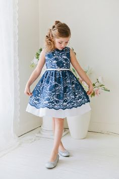 Flower Girl Dress Floral Lace and Taffeta Dress with Gem BeltNavy Blue Party Dress Special Occasion Dress Fabulous Floral Lace and Taffeta Dress with Gem Embellished Belt – Navy Blue [br] Blue Party Dress, Girls Party Dress, Baby Dress, Dress Girl, Girls Holiday Dresses, Special Occasion Dresses, Lace Flower Girls, Flower Girl Dresses, Little Girl Dresses