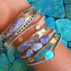 boho jewellery - beautiful gold and opal bracelets Jewelry Box, Jewelry Accessories, Jewelry Design, Jewelry Making, Jewelry Rings, Jewlery, Designer Jewelry, Gold Jewellery, Jewelry Hanger
