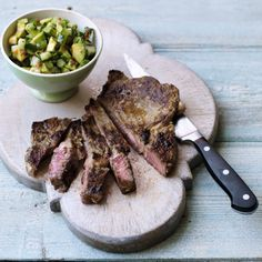 Spiced Rib Eye Steak with Avocado Salsa