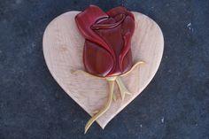 https://flic.kr/p/bucmoi | Intarsia rose | Rose is made from redheart and poplar.  Heart is box elder burl.
