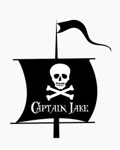 LARGE Vinyl Wall Decal- Personalized Name Pirate Ship Mast Wall Sticker