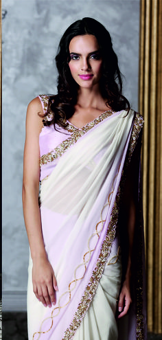 Ivory and Lavender Saree with Embroidery