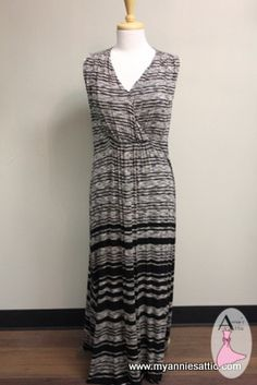 Chico's maxi dress, size MEDIUM (2) V-neck, full-length Black, gray and tan stripes