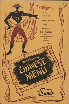 "The Chinese Menu for the Sands Hotel and Casino in Las Vegas, circa 1950-1980. Part of UNLV Libraries ""Menus: The Art of Dining"" digital collection. #UNLV"