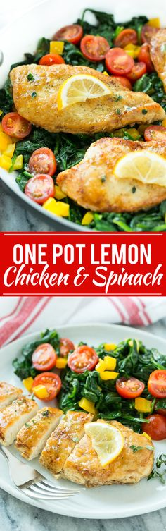 This recipe for Pan Seared Chicken Breast with Spinach is a one pot meal of chicken breasts and vegetables in the most delicious lemon, butter and herb sauce.
