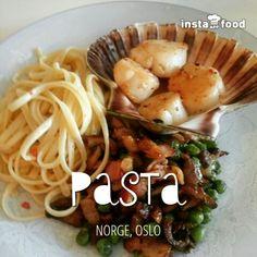 Pasta m.kamskjell, bacon, østerssopp og ertee