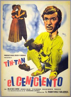 Colorful Mexican movie poster with a fine image of the three main stars. This poster has the look of a Renau,