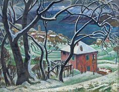 Adrian Allinson 1890-1959: Landscape with Trees, a Lake and a Village