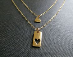 Mother daughter necklace gold heart necklace two by NYmetals