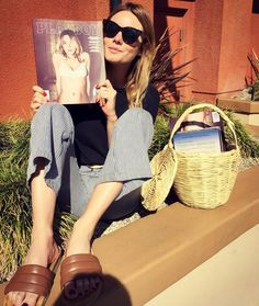Camille Rowe, an adorable straw basket, and some great Céline sunglasses. Céline sunglasses review here: http://www.newinspired.com/celine-audrey-sunglasses-vs-celine-caty-sunglasses/