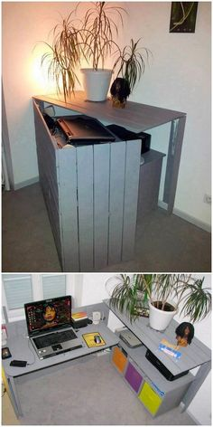 Fantastic DIY Wood Pallet Ideas That Can Improve Your Home - DIY Furniture - This is quite a funky style of the pallet folding office table that has been designed on striking c - Diy Wood Pallet, Pallet Crafts, Diy Pallet Projects, Wooden Pallets, Pallet Ideas, Wooden Diy, Wood Projects, Wood Ideas, 1001 Pallets