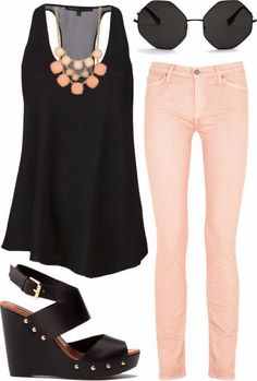 Fashion Land: Black Singlet And Pink Slim Pants