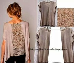 .Lace to back of tee shirt