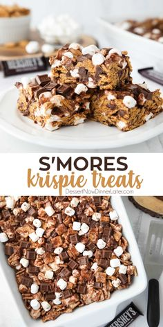 S'mores Krispie Treats have all the flavors of traditional s'mores made into an easy no-bake summer dessert. Loaded with Golden Grahams cereal, plenty of marshmallows and Hershey chocolate, these indoor s'mores bars are a crowd favorite. No Bake Summer Desserts, Desserts For A Crowd, Köstliche Desserts, Dessert Recipes, Easy Bake Desserts, No Bake Recipes, Easy Dessert Bars, Easy Baking Recipes, Dessert Food