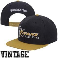 66a92e6d9fb Mitchell   Ness New York Titans Throwback XL Logo 2-Tone Snapback Hat -  Navy Blue Gold