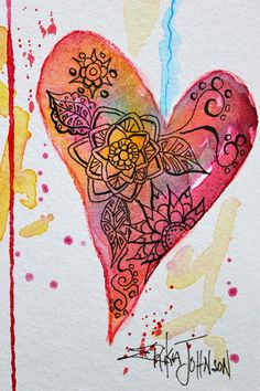 Heart of Love Original Water color with pen by ErikaJohnsonGallery, $30.00