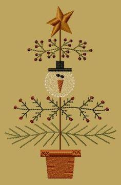 PK027 Snow Christmas Tree - 5x7 - $8.00 : Primitive Keepers, Prim Machine Embroidery Designs
