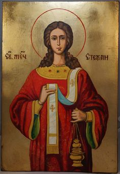 High quality hand-painted icon of Saint Stephen Large. BlessedMart offers Religious icons in old Byzantine, Greek, Russian and Catholic style.