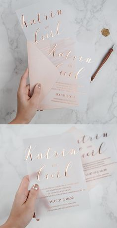 2019 Wedding Trends: Chic Rose Gold Wedding Ideas - Invitatioin Card - Ideas of Invitatioin Card - trendy rose gold foil printing on vellum paper wedding invitations Wedding Invitation Trends, Beach Wedding Invitations, Gold Wedding Invitations, Wedding Paper, Wedding Trends, Wedding Stationery, Wedding Cards, Wedding Ideas, Formal Wedding