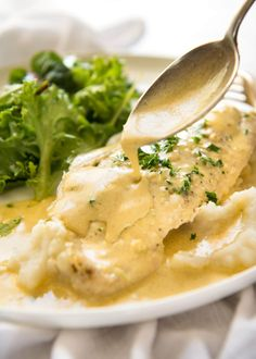This Baked Fish with Lemon Cream Sauce is all made in one baking dish! Dinner on the table in 15 minutes. www.recipetineats.com