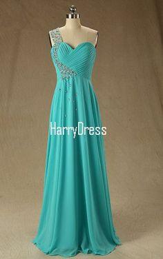Sleeveless Pleated Beading A Line One Shoulder Chiffon Teal Floor Length Long Prom Dress