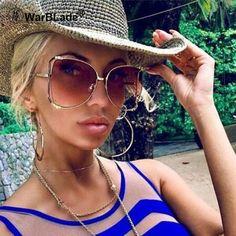 89ed0eac3e48 Oversize sunglasses women brand shades half round Luxury Brand Design  Vintage Gradient brown Sunglasses Female 2018